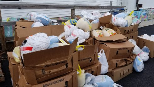 Boxes of donated frozen turkeys