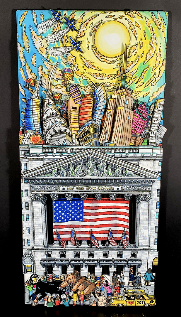 """A 17"""" x 38"""" original 3D painting by Fazzino titled """"The Hot NYSE"""""""