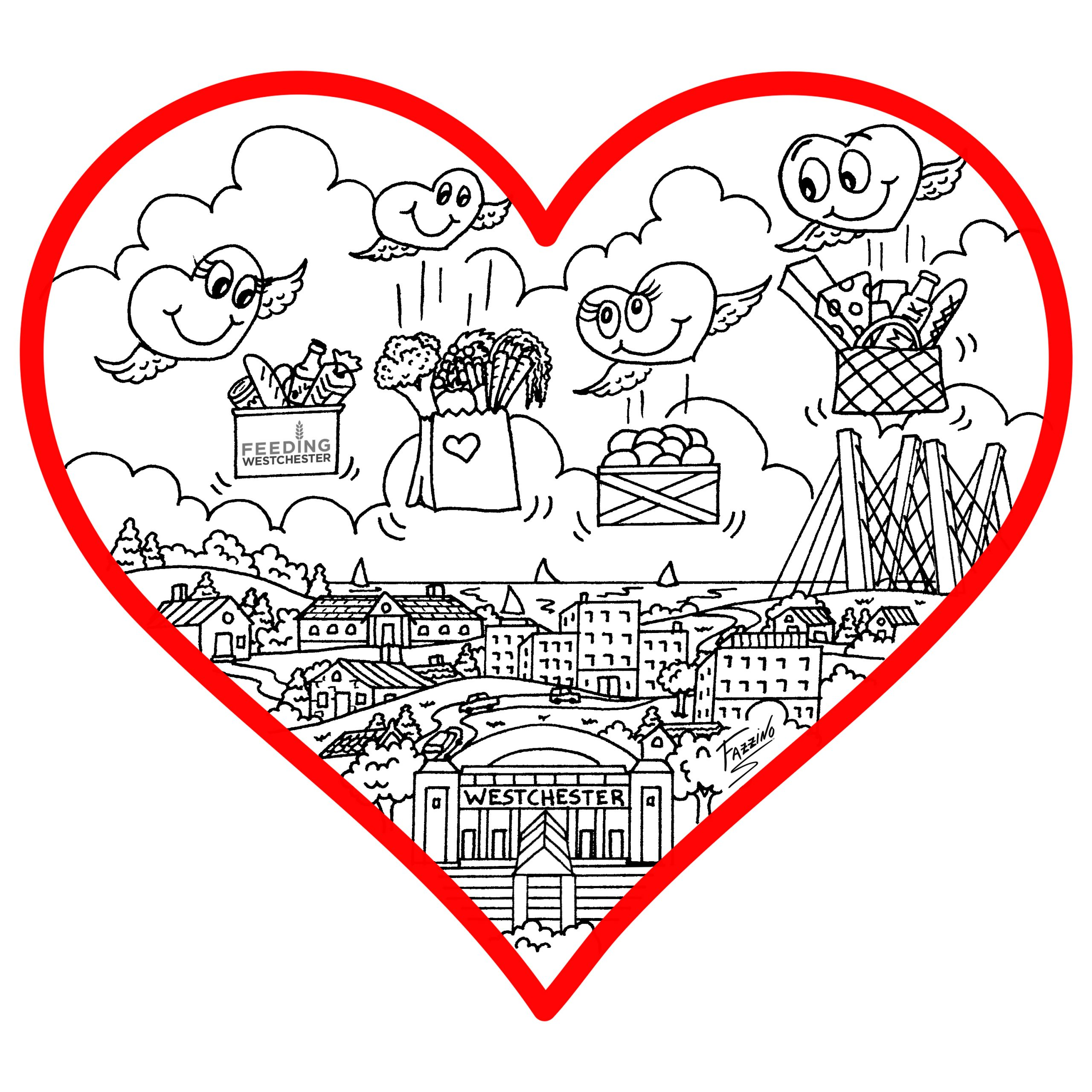 Fazzino's Love in Westchester-Themed Coloring Book image