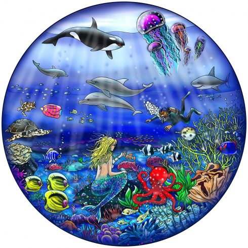 Circular pop art piece of a mermaid, whale, scuba diver and other sea creatures.
