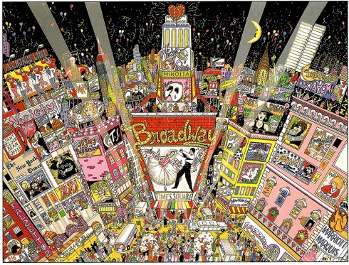 """""""A New Year on Broadway"""" a pop art cityscape of NYC's magic on Broadway done by Charles Fazzino"""