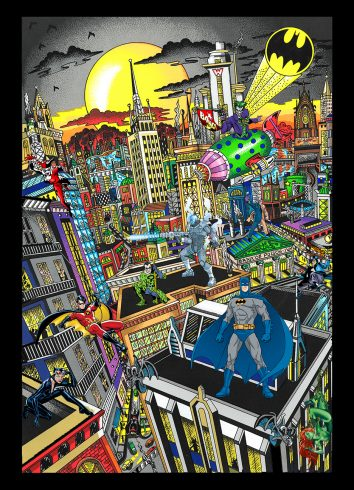 Batman rules the night by Charles Fazzino - Fazzino takes us from the classic Riddler and Joker to the more recently introduced characters like Poison Ivy and Mister Freeze.