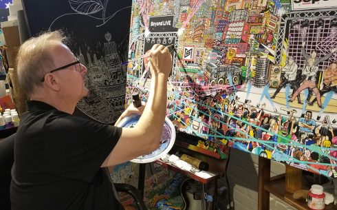 Charles Fazzino working on 3d pop art commissioned piece for SMTOWN Museum in Seoul, featuring KPOP stars SUPERM