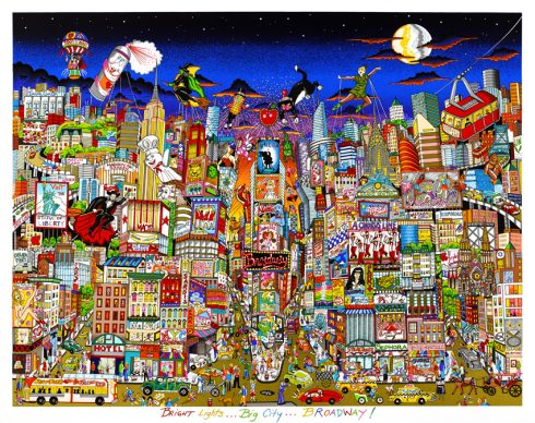 """""""Bright Lights, Big City"""" a spooky Halloween-inspired cityscape done by 3d pop artist Charles Fazzino"""