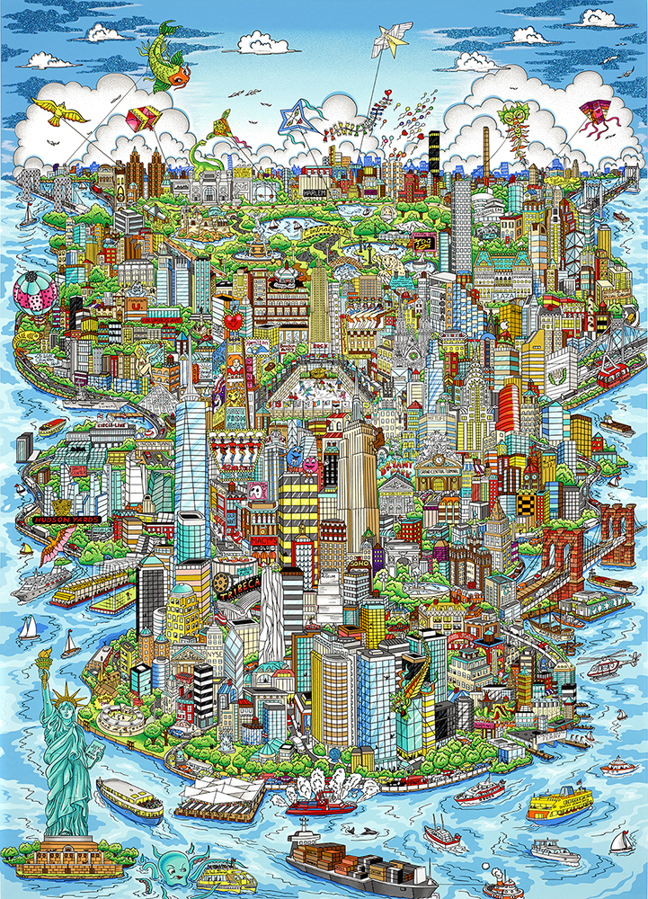 """Pop art print """"Experience the Magic of Manhattan"""" a cityscape of NYC landmarks done by Charles Fazzino"""