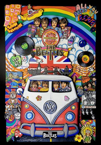The Beatles and the VW Bus - With a nod to the 1960's Fazzino created this psychedelic original to pay tribute to one of the most popular musical groups of all time.