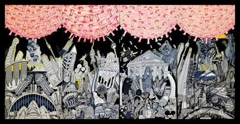 """""""Coronavirus Threatens Our World"""" Coronavirus pandemic inspired art by Charles Fazzino"""
