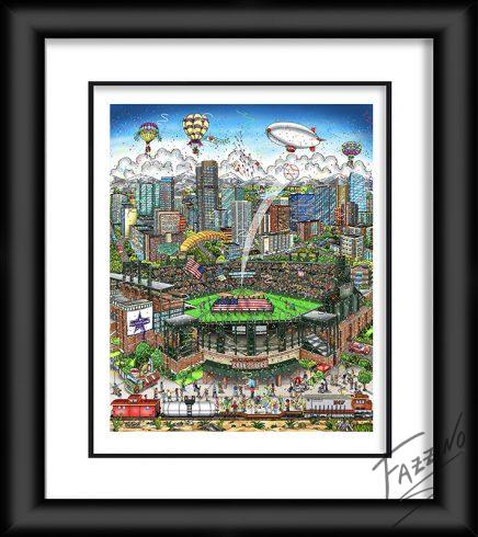 2021 All-Star Game Denver pop art original by Charles Fazzino - Baseball shot into the sky at Play Ball Park Stadium
