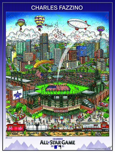 2021 All-Star Game Denver Poster Print by Charles Fazzino - Baseball shot into the sky from Ball Park Stadium