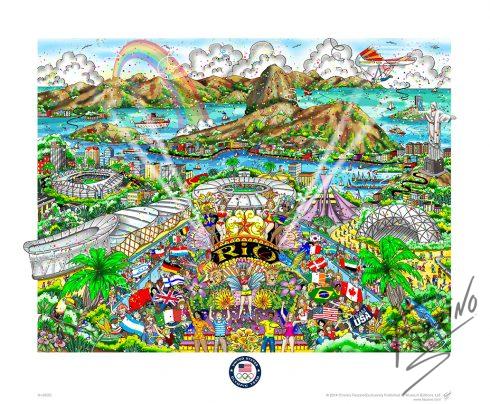 2016 Olympic Games Rio de Janeiro, Brazil pop art poster by Charles Fazzino