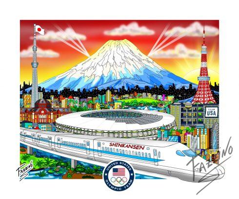 Tokyo Japan Olympics pop artwork by Charles Fazzino of Shinkansen (Japanese Bullet Train) and Mount Fuji volcano in background