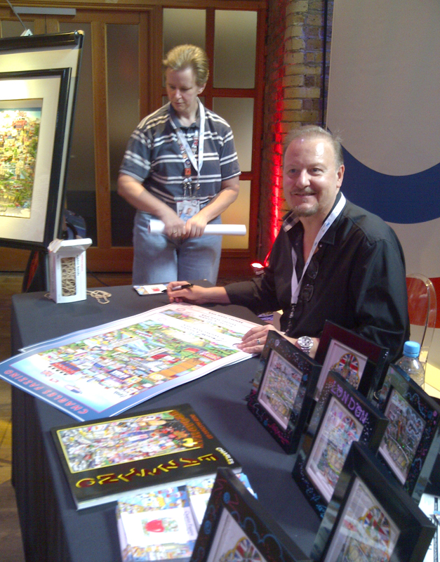Charles Fazzino in London during the 2012 Olympic Games at the USA House to sign posters and at The American School in London.
