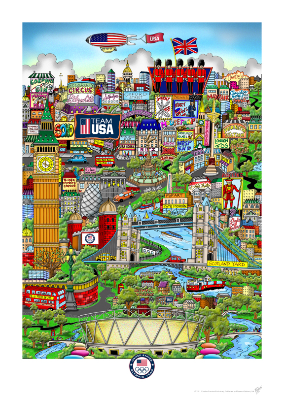 The London 2012 Summer Olympics pop art poster by Charles Fazzino