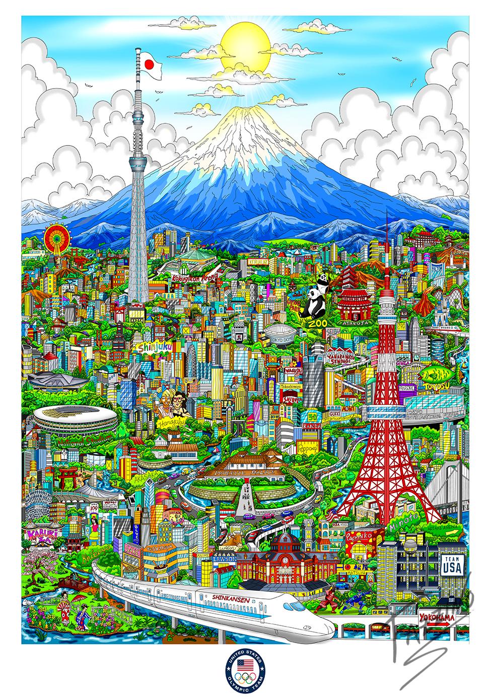 Olympic Games Tokyo 2020 - Charles Fazzino pop artwork of Olympic Games, Team USA, Mt Fuji Volcano and Shinkansen (Japanese Bullet Train)