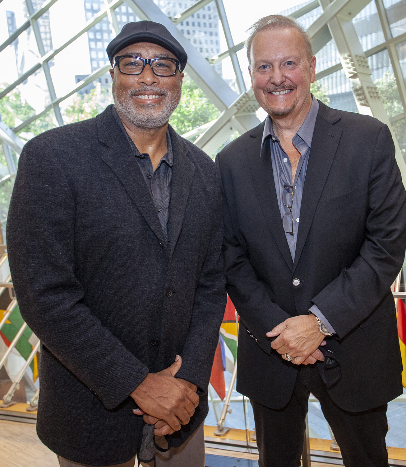 """New York Yankee Alum Bernie Williams and Charles Fazzino pictures at the 20th Anniversary of 9/11 unveiling Fazzino's pop art piece titled """"9/11: A Time for Remembrance, Twenty Years Later"""""""