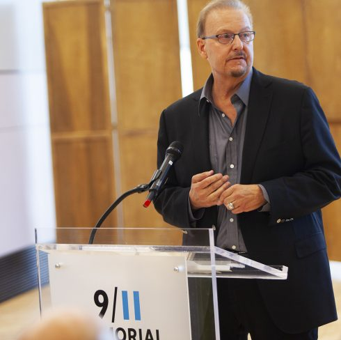Charles Fazzino speaking at the 9/11 Memorial ceremony of 20 year anniversary of 9/11