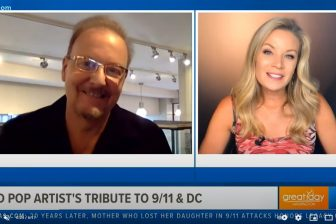 Great Day Washington host Kristen Berset-Harris speaking with Charles Fazzino about his new work commissioned by the 9/11 Museum & Memorial to commemorate 9/11