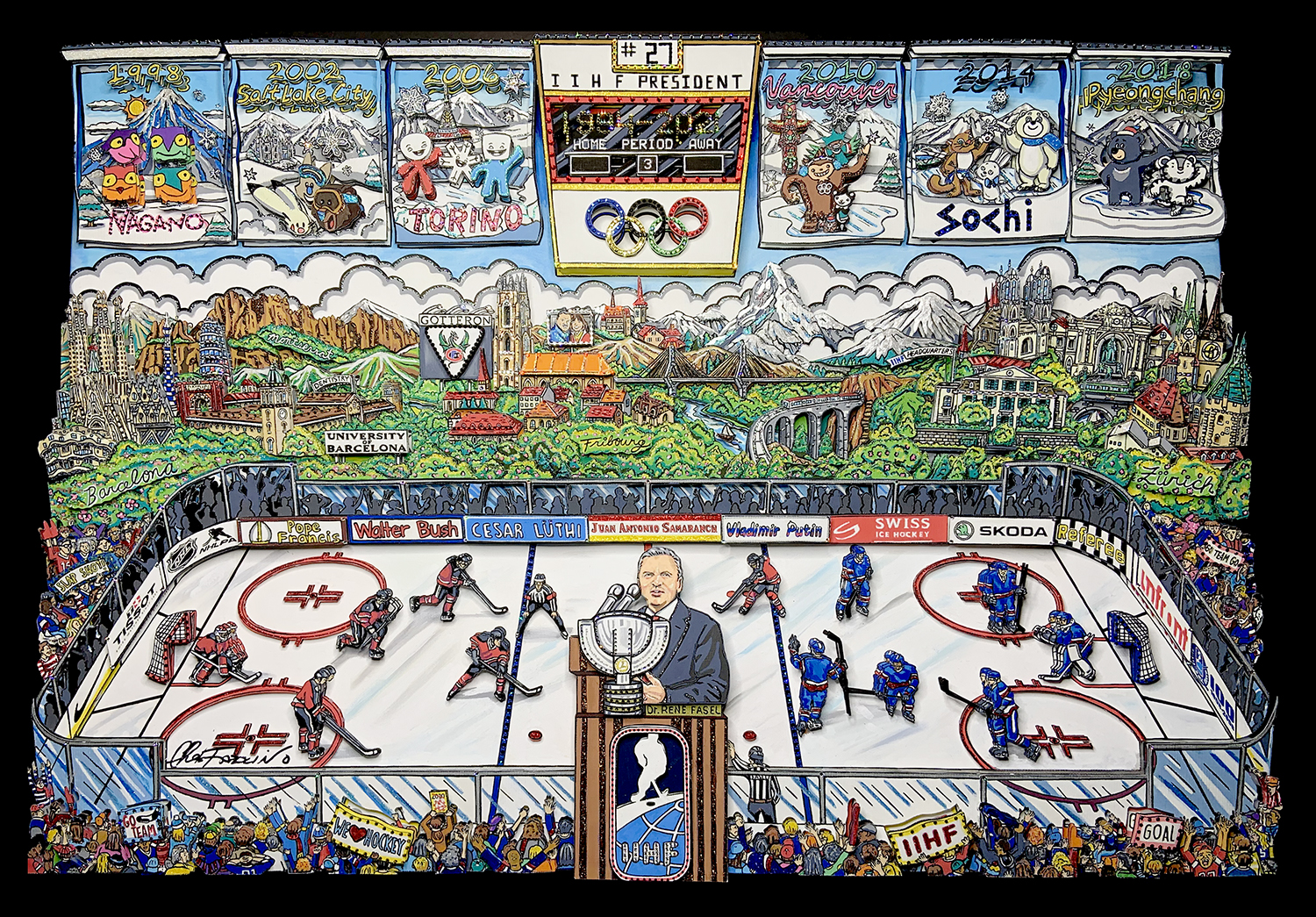 3D pop art by Charles Fazzino of a hockey rink and former President of IIHF, Dr. Rene Fasel